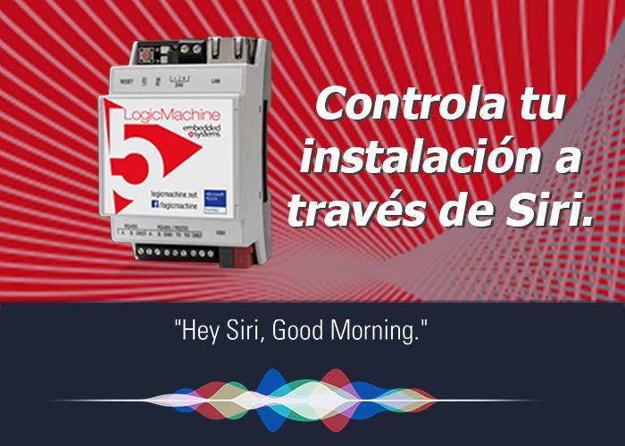 Control mediante voz con Siri.